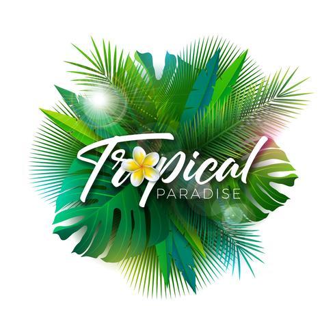 Ilustração tropical do paraíso do verão com letra da tipografia e plantas exóticas no fundo branco. Vector Design de férias com folhas de palmeira e Phylodendron