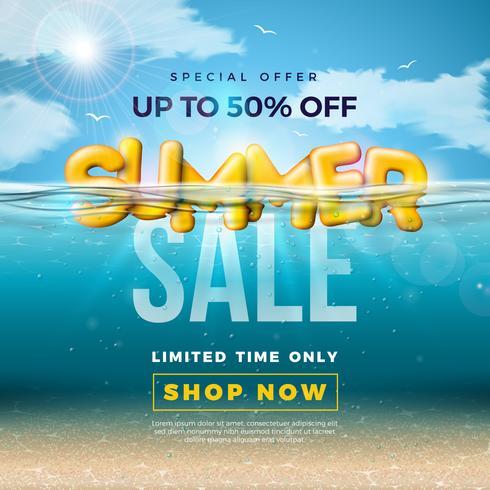 Conception de vente d'été avec lettre de typographie 3d au fond de l'océan bleu sous-marin. Vector offre spéciale illustration avec la scène de la mer profonde et des éléments de vacances pour le coupon