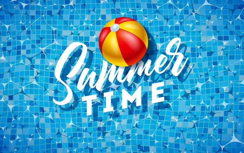 Sommerzeit-Illustration mit Wasserball auf Wasser im mit Ziegeln gedeckten Pool-Hintergrund. Vektor-Sommerferien-Design-Vorlage