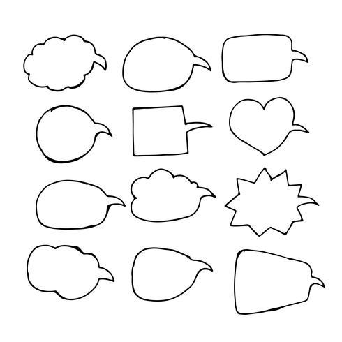 Bocadillo de diálogo a mano icono de dibujo vector