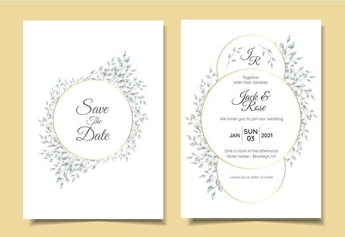 Sistema minimalista de la invitación de la boda del vintage del arreglo floral natural con el marco de oro del círculo elegante. Plantilla de tarjetas multipropósito como póster, libro de tapa, embalaje y otros
