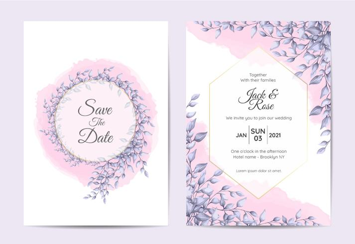 Modern Wedding Invitation Design Of Branches With Blue Leaves And