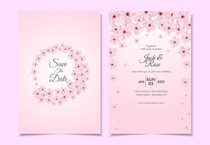 Sistema de la plantilla de la invitación de la boda de la flor de cerezo de la acuarela. Hermosa tarjeta de usos múltiples de plantilla