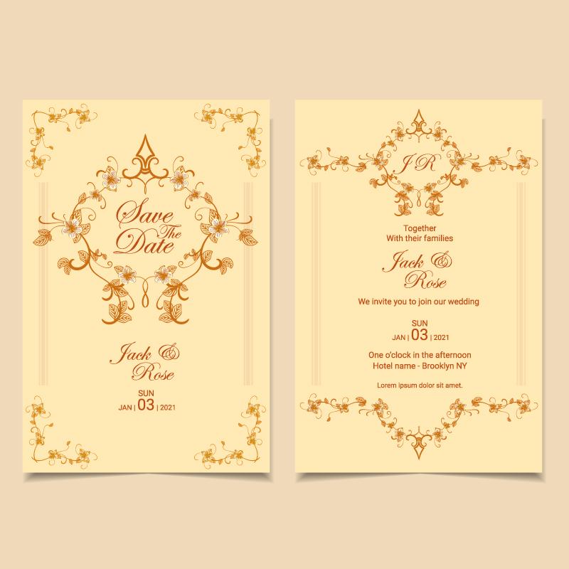 wedding invitation template vintage floral decorative soft