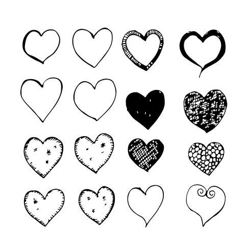 icono de corazón mano dibujar vector