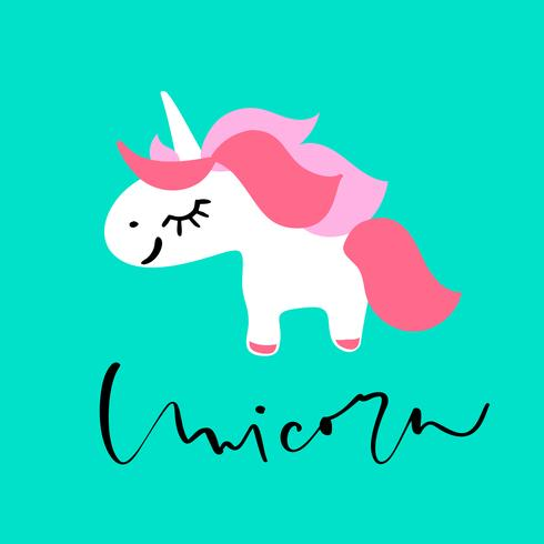 Cute hand drawn cartoon unicorn with calligraphy text. Vector character illustration. Design for child card, t-shirt. Girls, kid magic concept. Isolated on white background