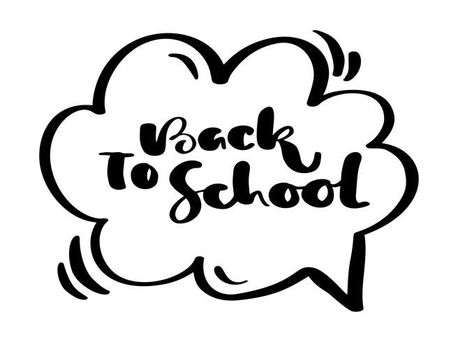 Back to school hand brush vector calligraphy lettering text. Doodle sketch hand drawn illustration. Education inspiration phrase for study