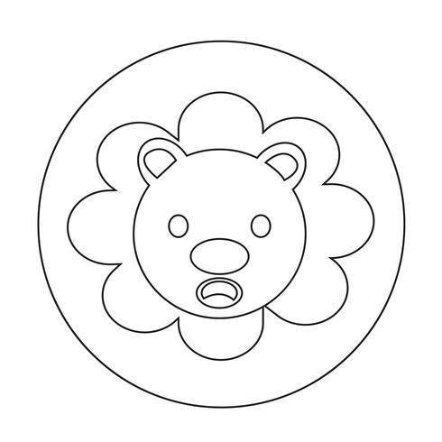 Ícone bonito do leão vetor