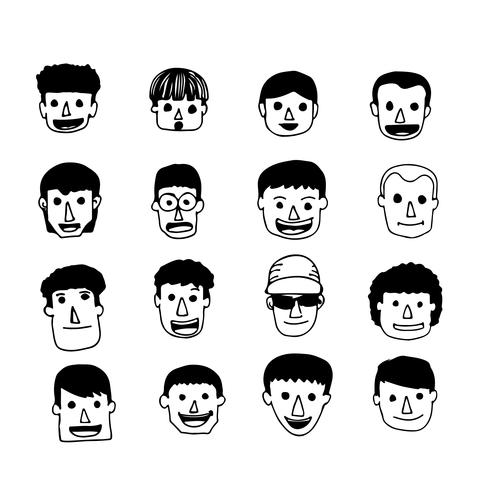 Leute stellen Karikaturikone gegenüber