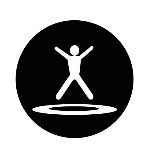 pulando trampolim icon vetor