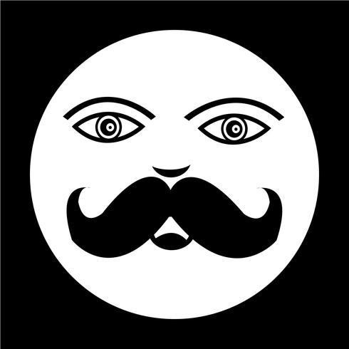 icono de cara de chico de bigote vector
