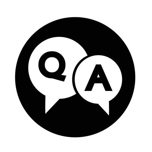 Icona di bolla di discorso di domanda e risposta vettore