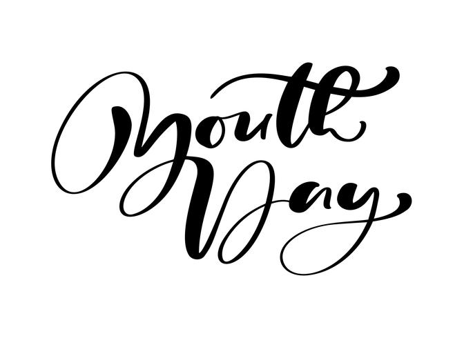 Jeugddag vector kalligrafie belettering zin voor internationale jeugddag. Hand getrokken logo pictogram of script voor stijlvolle poster Banner, wenskaart