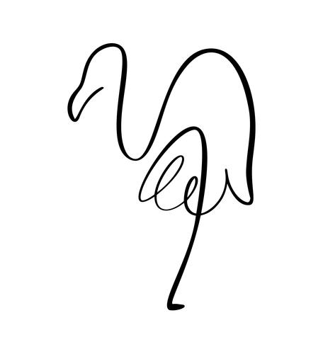 Flamingo staying on one leg continuous line logo. Vector illustration of bird form. Hand drawn element isolated on white background for logo decorative element style