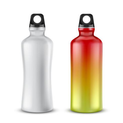 Vector conjunto de botellas de plástico de deporte para bebidas