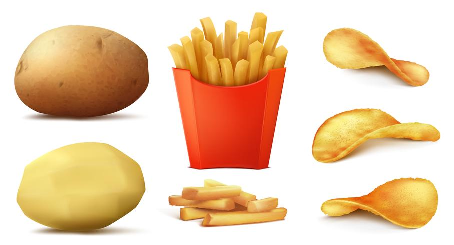 Vector set of potato snacks, french fries, chips