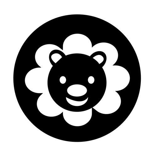 Icono de león lindo vector