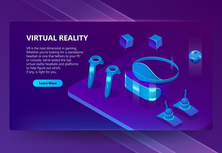 Vectorachtergrond met gadgets voor virtuele werkelijkheid