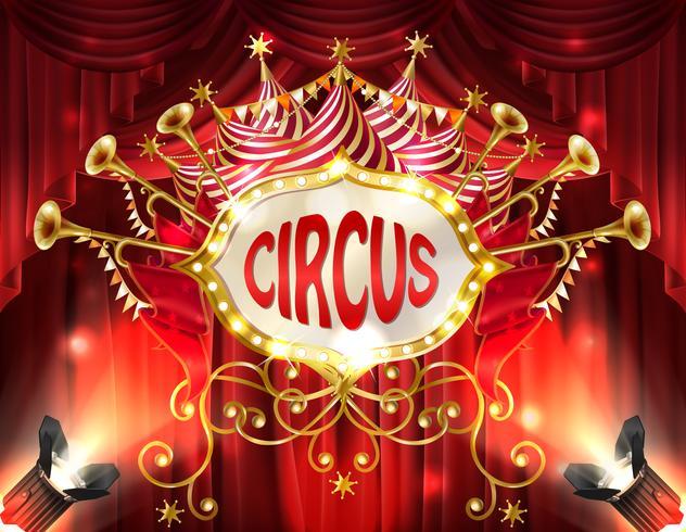 Vektor banner med cirkus skylt och gardiner