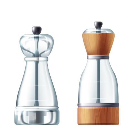 Vector 3d realistische glas zoute schudbeker, peppermill