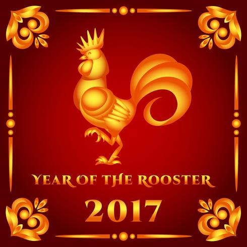Vector illustration golden rooster on red background