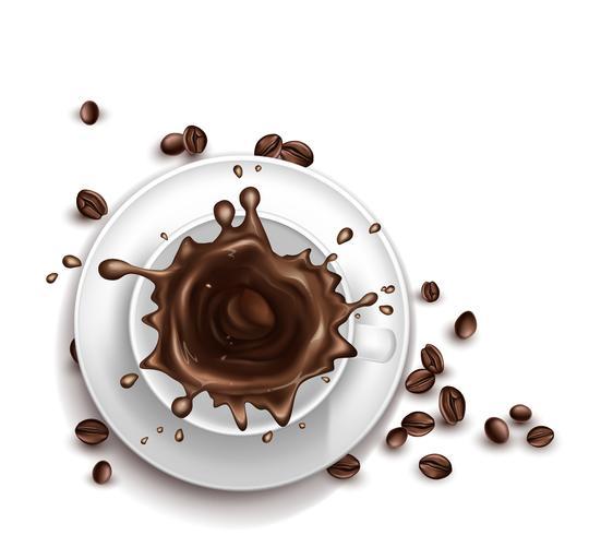 Vector 3D-realistische kopje koffie met spatten