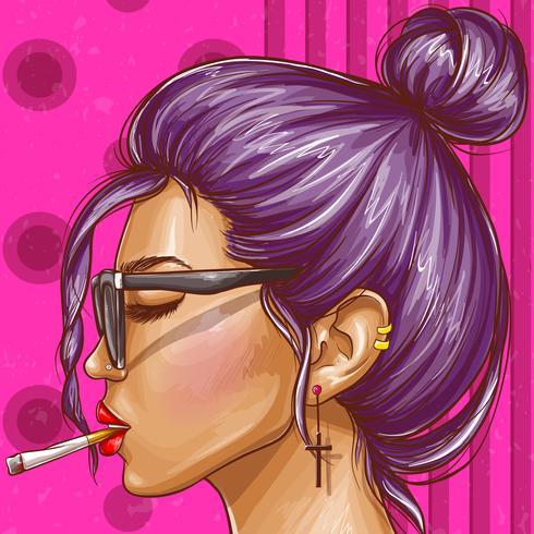 Vector pop art hipster garota fumando cigarro