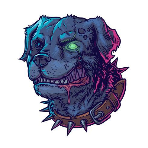Illustrazione vettoriale del male cane pazzo