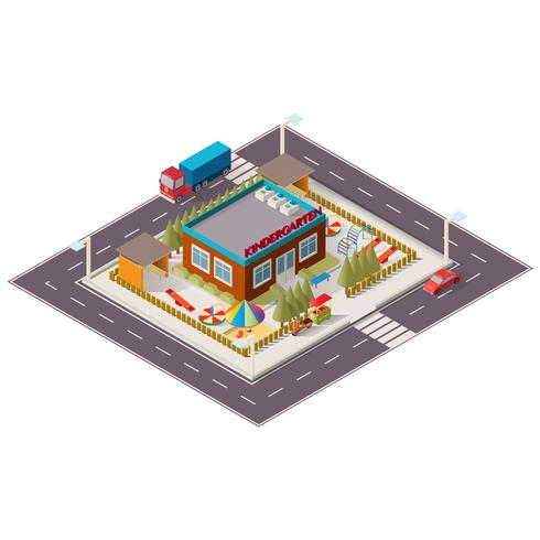 Vector isometric illustration of kindergarten.