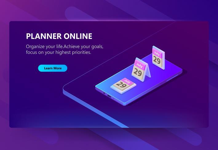 Modelo de site de vetor para planejador on-line, agendar