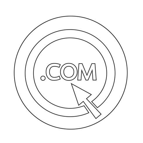 Icono de signo COM de punto de dominio