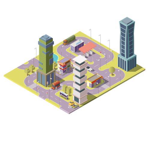 Megapolis isométrico do vetor 3d, cidade. Paisagem urbana