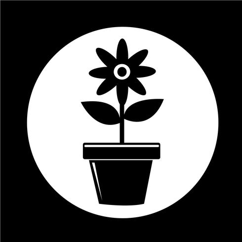 Icona del vaso di fiori vettore