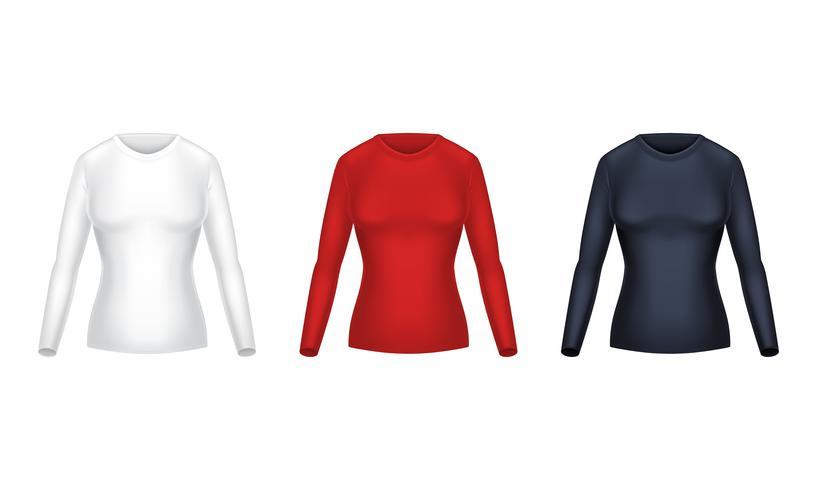Vektor realistisk uppsättning kvinnliga långärmade tröjor