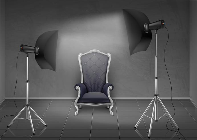 Studio fotografico vettoriale con poltrona e softbox