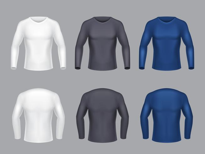 Vektor realistisk uppsättning manliga långärmade tröjor