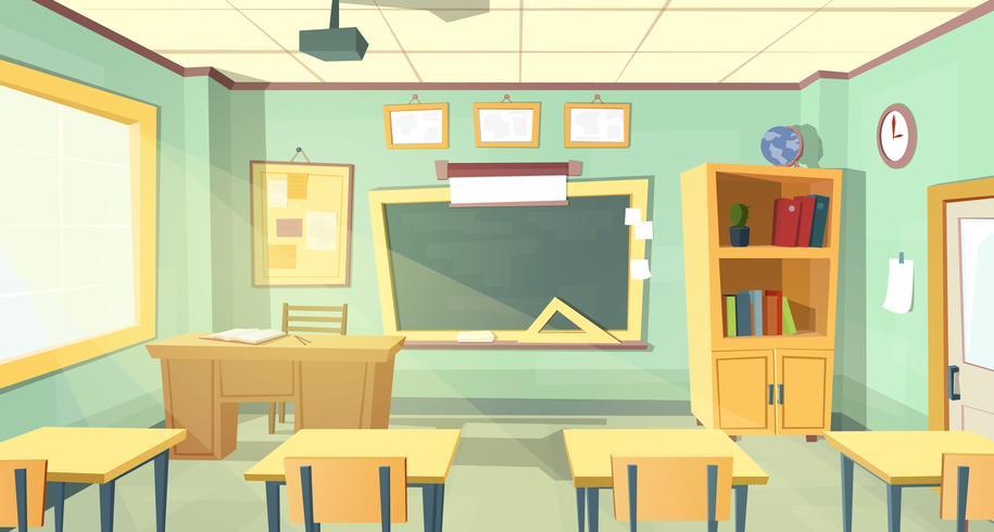Vektor tecknad illustration av skolrummet