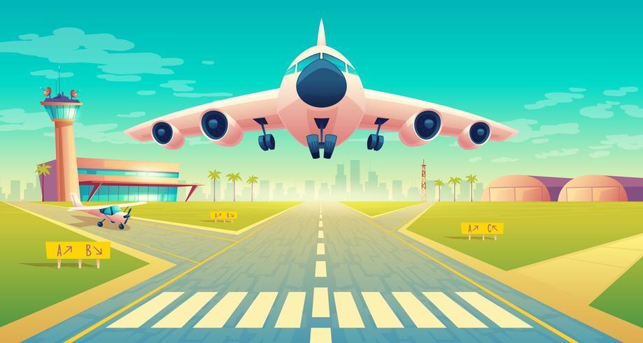Vector despegue de avión en pista de aterrizaje