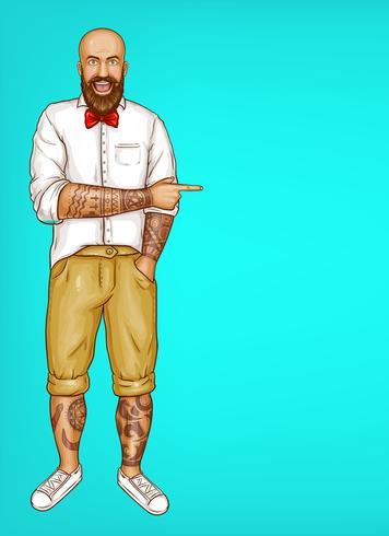 Uomo barbuto calvo tatuato di Pop art di vettore