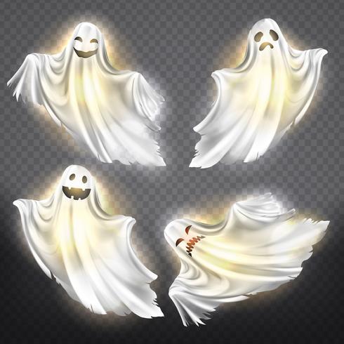 Fantasmas vector, conjunto de fantasmas. Espíritus fantasmagóricos de halloween