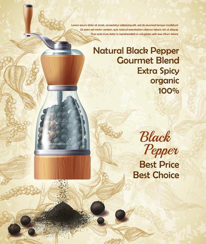 Bannière de promotion vecteur d'épices naturelles de poivre noir