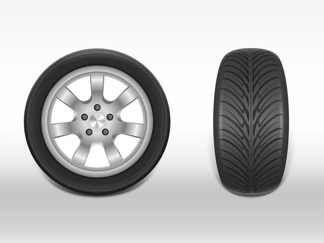Vektor 3d realistisk svart däck med slitbanan