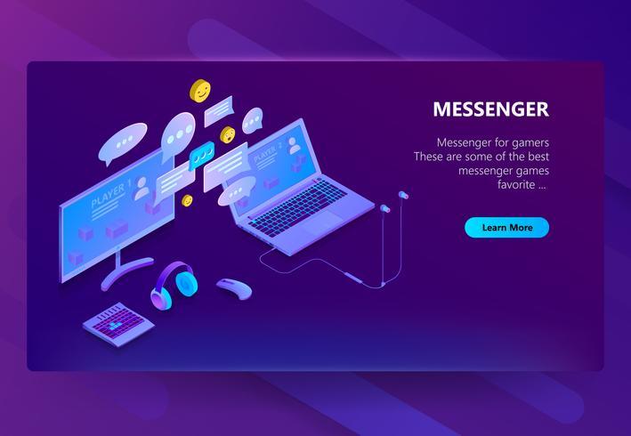 Vector webbplats mall för budbärare, online chat