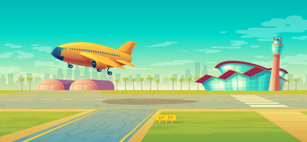 Faixa de aterragem do vetor para aviões, decolagem plana