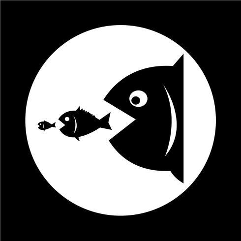Los peces grandes comen peces pequeños vector