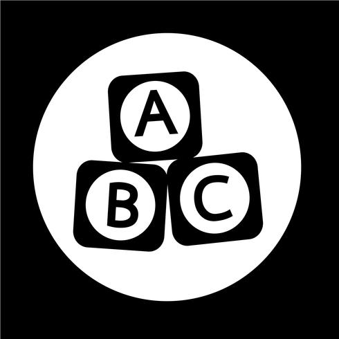 Icono de bloque de ladrillo de juguete de bebé ABC vector