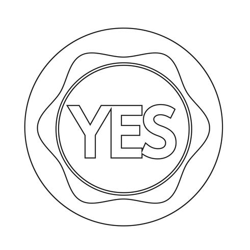 Yes button icon vector