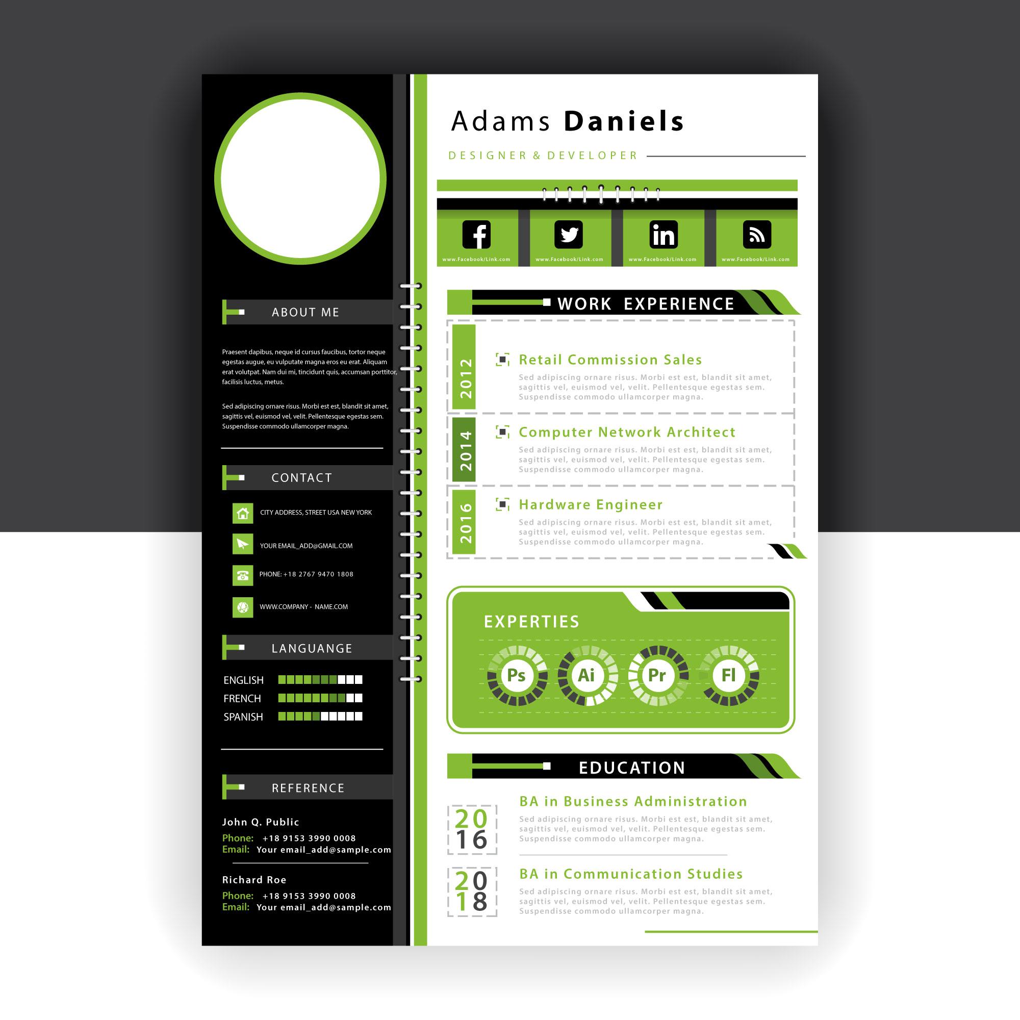 green resume template vector