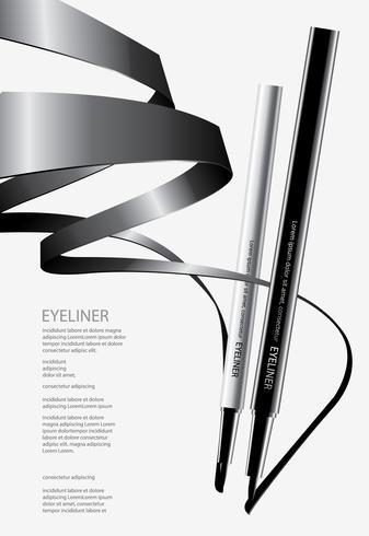 Eyeliner cosmetico con l'illustrazione d'imballaggio di vettore di progettazione del manifesto