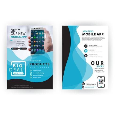 blue wavy shape business brochure vector